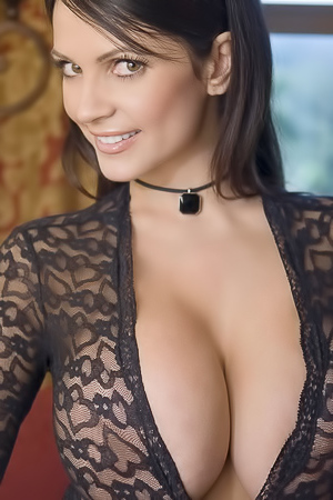 Denise Milani in black lingerie teasing you
